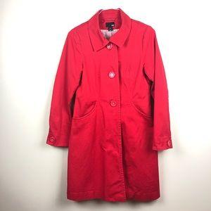 H&M Red Cotton Trench Rain Coat
